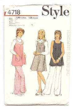 1970' Patron Maternité Style 4718 Taille 10 Chasuble Jumper Robe Tunique Pantalon Couture rétro vintage Vêtement pour femme enceinte by aBirdOnMyHead on Etsy
