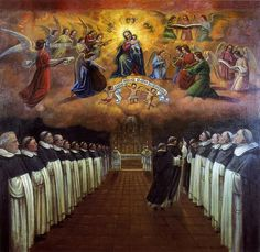 The picture shows Dominican Friars singing the Night Office with Our Lady watching over them as they sign the Salve Regina– Hail Holy Queen! Catholic Art, Catholic Saints, Religious Art, Mama Mary, Mary I, Madonna, University Of Santo Tomas, Dominican Order, Jesus Father
