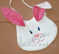 Bunny Bib Baby Girl Bunny Bib  White Terry by MakeMinePatchwork