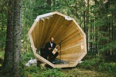 Gigantic Wooden Megaphones Have Been Installed In A Forest In Estonia To Amplify The Sounds Of Nature Landscape Architecture, Interior Architecture, Wooden Pavilion, Forest Sounds, Sound Installation, Forest Cabin, Sound Art, Nature Sounds, Outdoor Spaces