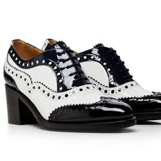 Oxford Heels, Living Dolls, Goodyear Welt, Navy Women, Brogues, Patent Leather, Chelsea Boots, Lace Up, Black And White
