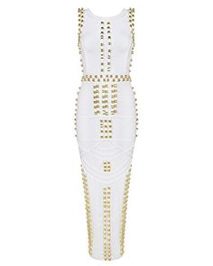 Whoinshop Damen Rayon Berühmtheits Art Bodycon Studded Sleeveless Verband Partei-Kleid Weiß M