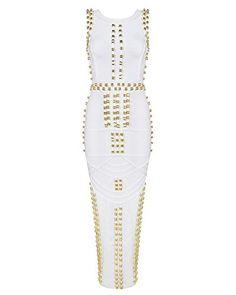 Whoinshop Damen Rayon Berühmtheits Art Bodycon Studded Sleeveless Verband Partei-Kleid Weiß M