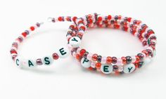 Pink / Red  Alphabet Name Bracelets  Personalized by FandangoBeads,