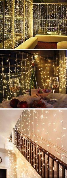 Curtain Christmas Fairy Lights | Inexpensive Christmas Decorations on a Budget | Cheap Weddding Outdoor Wedding Ideas