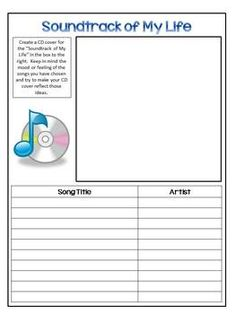 Back To School Activity - Soundtrack of My Life...could use as a small group middle school activity, etc.