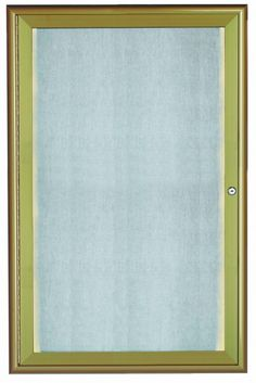 LOWFC3624LB. LED Lighted Enclosed Bulletin Board with Aluminum Waterfall Style Frame. Frame is Antique Brass. Back Panel is Neutral Burlap Weave Vinyl. 36″Hx24″W. One Door