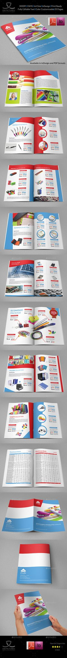 Stationery Products Catalog Brochure - 20 Pages Template InDesign INDD #design Download: http://graphicriver.net/item/stationery-products-catalog-brochure-20-pages/13248595?ref=ksioks