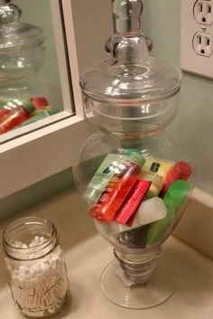 Use a pretty jar to store travel size items for your guest bathroom! PERFECT for guests! Use a pretty jar to store travel size items for your guest bathroom! Ideas Baños, Home And Deco, Do It Yourself Home, Humble Abode, Organization Hacks, Organizing Ideas, Glass Jars, Travel Size Products, My Dream Home