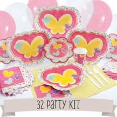 Playful Butterfly and Flowers Baby Shower - 32 Person Party Kit $99.99    A complete kit with do-it-yourself fill in invitations, tableware for 32 guests, as well as color coordinating forks, knives and spoons, balloons, streamers and tablecovers.    #Babyshowerkit