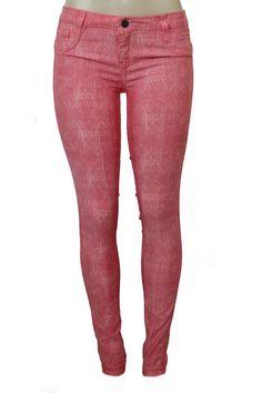 BLEULAB Guava Jeans Detour Legging Jegging Women Skinny 26 Orange Lace Print #Bleulab #SlimSkinnyLeggings