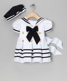 Blanco vestido de marinero y Beret - Niño, niño y niñas