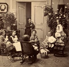 A doll party, late 1800s