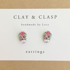 Sugar Skull Earrings beautiful handmade polymer by ClayandClasp