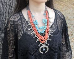 OLD NATIVE AMERICAN NAVAJO SILVER SQUASH BLOSSOM TURQUOISE & CORAL NECKLACE LOT