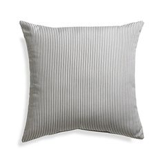 "Sunbrella® Charcoal Ticking Stripe 20"" Sq. Outdoor Pillow"