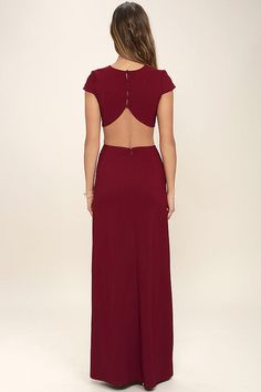 Lulus Exclusive! With so many stunning features to chat about, everyone is all atwitter about the Conversation Piece Wine Red Backless Maxi Dress! This sleek and stretchy maxi dress starts off with a rounded neckline and short sleeves, while darting adds a tailored finish to the fitted bodice. A row of buttons top the curvy open back that transitions into side cutouts, and a figure-flaunting maxi skirt with thigh-high slit. Hidden zipper at back.