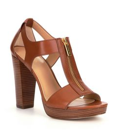MICHAEL Michael Kors Berkley Leather Zip-Up Block Heel Sandals This will actually fit you! Dress Sandals, Women's Shoes Sandals, Wedge Sandals, Half Shoes, Clearance Shoes, Michael Kors Shoes, Block Heels, Fashion Shoes, Fashion Slippers