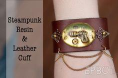 Steampunk Resin Leather Cuff