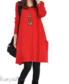 red sweater dress knitwear cotton dress large knitted sweater cotton sweater loose sweater blouse plus size sweater tops cotton blouse