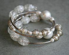 white crystal pearl bracelet memory wire crackle by koralikowyraj