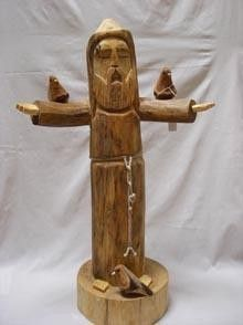 wooden statues withbirds santa f - Google Search