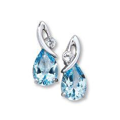 """Natural Topaz Earrings Pear-Cut Sterling Silver"""