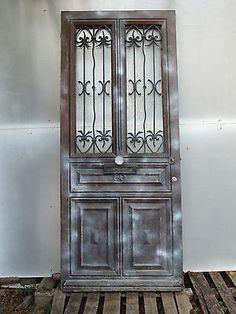 Eiche - Türe mit Gitter, Rahmen mit Oberlicht, Gründerzeit, Haustüre  -5602