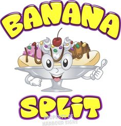 """Banana Split Decal 14"""" Ice Cream Soft Serve Cart Stand Concession Food Truck"""
