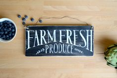 Farm Fresh Produce Sign Wood Kitchen Sign Wooden by TheChirpyLoft