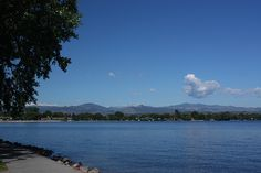Lake Loveland in Loveland, Colorado, with Rocky Mountains view...