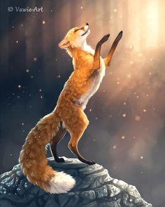 Sun Dancer by Vawie-Art on DeviantArt Fox Spirit, Spirit Animal, Animal Sketches, Animal Drawings, Art Plastic, Fox Fantasy, Wolf Hybrid, Fantastic Fox, Fox Drawing