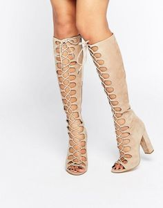 Beige Tie Up Knee Sandals by KENDALL + KYLIE. Boots by Kendall Kylie, Suede upper, Lace-up fastening, Open toe, Side zip closure, Block high heel, Protect with a s...
