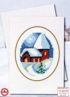 """This adorable cross stitch Church Card Kit would make a perfect gift for the holidays! This complete kit includes the chart and instructions, needle, fabric, threads, and the card with the envelope. The design size is 3.5"""" x 5""""."""