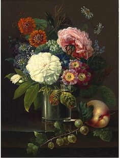 Johan Carl Smirsch  Flower Still Life  19th century