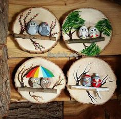 Likes, 75 Comments - نقش سنگ (Naghshe Gitti. - - Likes, 75 Comments – نقش سنگ (Naghshe Gitti… – - Stone Crafts, Rock Crafts, Diy And Crafts, Crafts For Kids, Pinterest Christmas Crafts, Diy Christmas Gifts, Cheap Christmas, Wood Slice Crafts, Rock And Pebbles