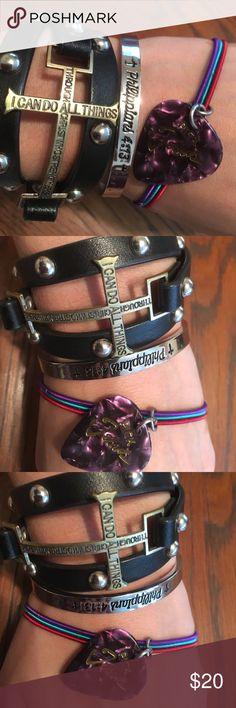 "💫3 Christian Bracelets💫 💫Black Fake Stud Wrap Around Cross Bracelet ""I Can Do All Things Through Christ Who Strengthens Me."" .•. Silver Bangle Philippians 4:13 Bracelet .•. ""Pick Jesus"" Guitar pick stretchy metal bracelet-Romans 10:13 .•. Selling All Three Bracelets on this Listing .•. Make an Offer 💫💫💫 Jewelry Bracelets"