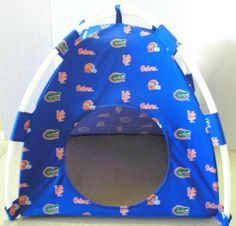 Florida Gators Handmade Fabric Pup Tent Pet Bed. Avail @ http://stores.sharonsdecoratedbooks.com/ Beds r made when ordered and payment is received. The average time that it takes for the Bed to ship after payment is usually 5 biz days. The Pet Beds are made of licensed cotton NCAA College material, but are not licensed by the NCAA College. They are handcrafted and resold under rights granted by the 1st sale doctrine. We are not affiliated with The Licensed Company in any way. ***22$ Sm  27$…