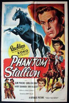 PHANTOM STALLION (1954) - Rex Allen & 'Koko' - Slim Pickens - Carla Balenda - Harry Shannon - Don Haggerty - Directed by Harry Keller - Republic Pictures - Lobby Card.