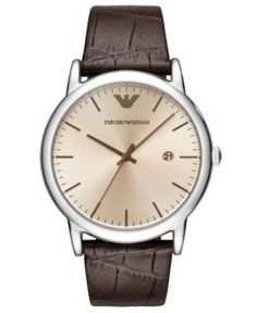 Emporio Armani Men's Brown Leather Strap Watch 43mm - Brown