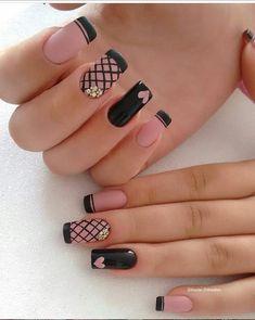 Acrylic Nails Natural, Cute Acrylic Nails, Cute Nails, Pretty Nails, Cute Nail Art Designs, Black Nail Designs, Acrylic Nail Designs, Black Nail Art, Black Nails