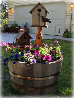 51 Stunning Wooden Garden Planters Ideas Try - Page 40 of 53 Lawn And Garden, Garden Art, Garden Design, Garden Ideas, Wooden Garden Planters, Backyard Landscaping, Landscaping Ideas, Bird Houses, Container Gardening