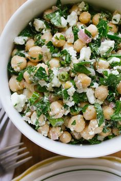 Chickpea, feta, and parsley salad. Simple salad, and super tasty. I also have a love affair with chickpeas so I am biased at how much I love this salad. Think Food, I Love Food, Good Food, Yummy Food, Yummy Lunch, Tasty, Vegetarian Recipes, Cooking Recipes, Healthy Recipes