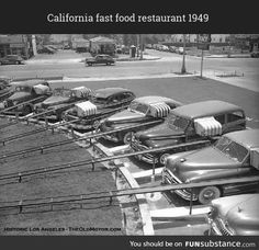 In 1949 a new drive-in restaurant called The Track opened, at 8201 Beverly Boulevard in Los Angeles, California. Purdy's invention, in . Vintage Restaurant, Fast Food Restaurant, Southern California Style, California History, Vintage California, Automobile, Real Estate Prices, Drive In Theater, Movie Theater
