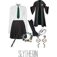 Slytherin by reecewinchester on Polyvore featuring polyvore, fashion, style, Oui, YMC, MARC BY MARC JACOBS, Amrita Singh and Blu Bijoux