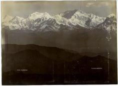 Dark ridges accentuating the brilliant peaks of Kanchenjunga. Pic taken in 1890