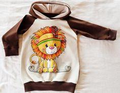 Kinder Hoodie - Indianer Löwe - Gr. 74/80 aus Biojersey Panel, Shirts, Hoodies, Sweaters, Fashion, Native Americans, Cotton, Kids, Fashion Styles