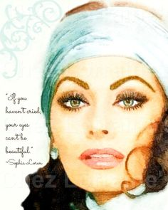 Sophia Loren with Beauty Quote on Eyes:  A Watercolor Fine Art Print, Classic Hollywood Home Decor