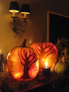 Not your typical jack-o-lanterns but I like the tablescape with the glowing trees