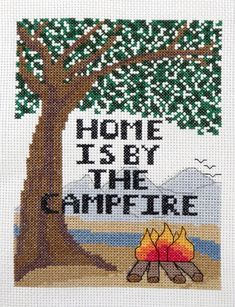 Home is by the Campfire - Counted Cross Stitch Pattern by Camp Cross Stitch